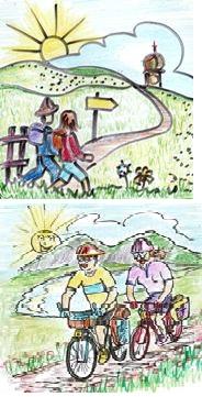 Wanderer und Radler