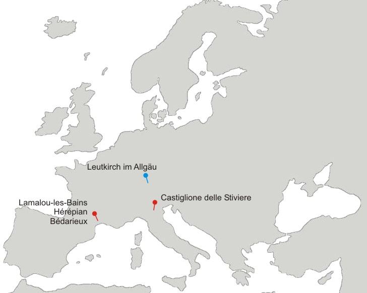 Lage der Partnerstädte in Europa
