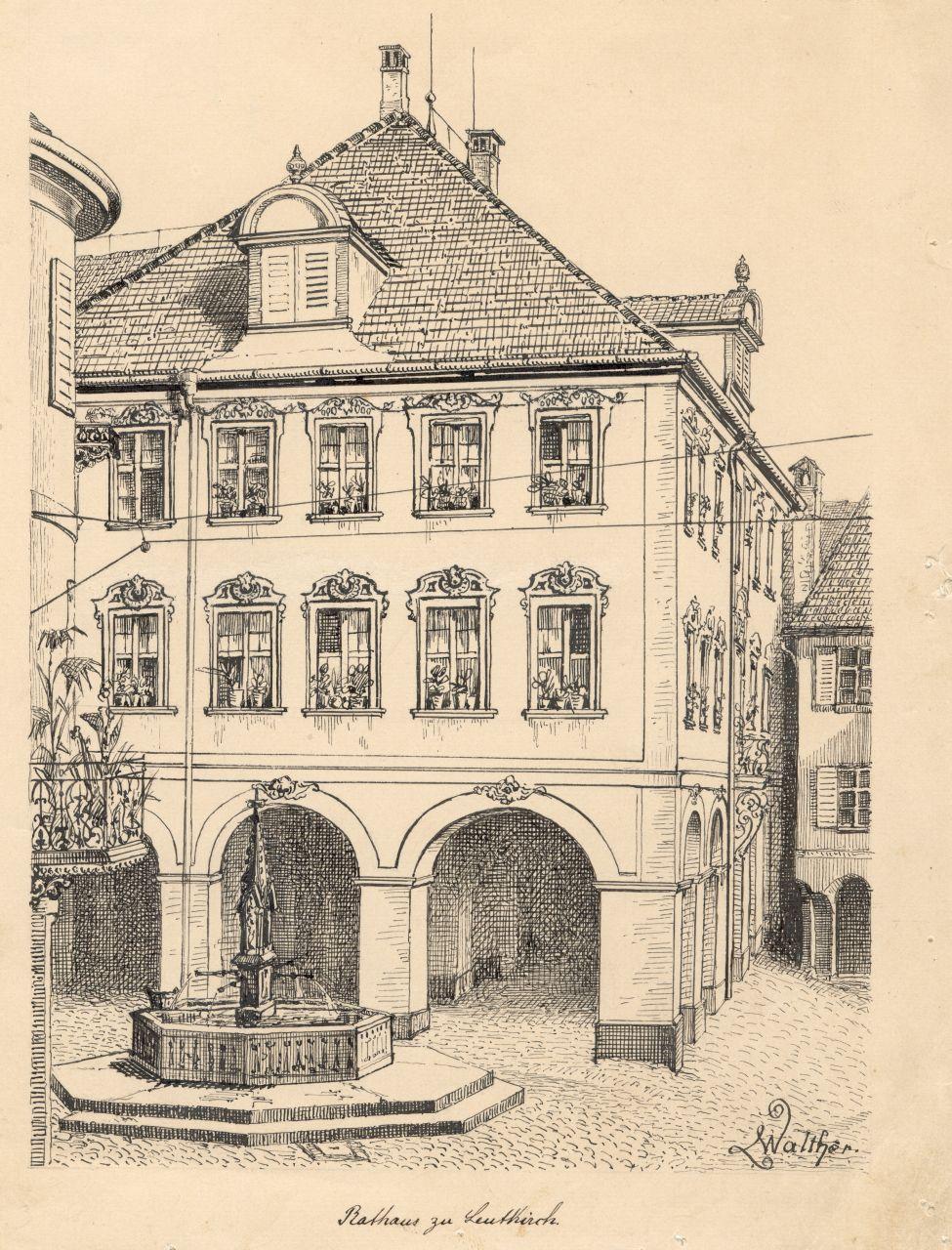 Das Leutkircher Rathaus um 1880