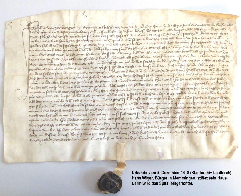 Stiftungsurkunde von 1418