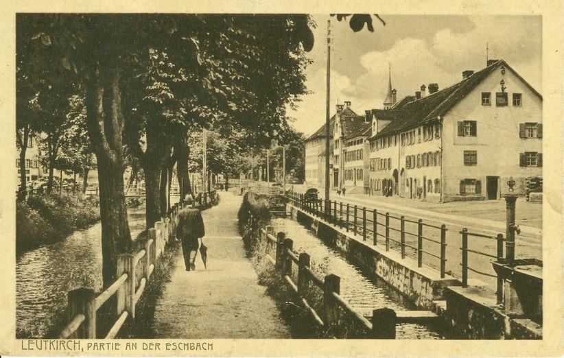 Partie an der Eschach mit Stadtbach um 1917