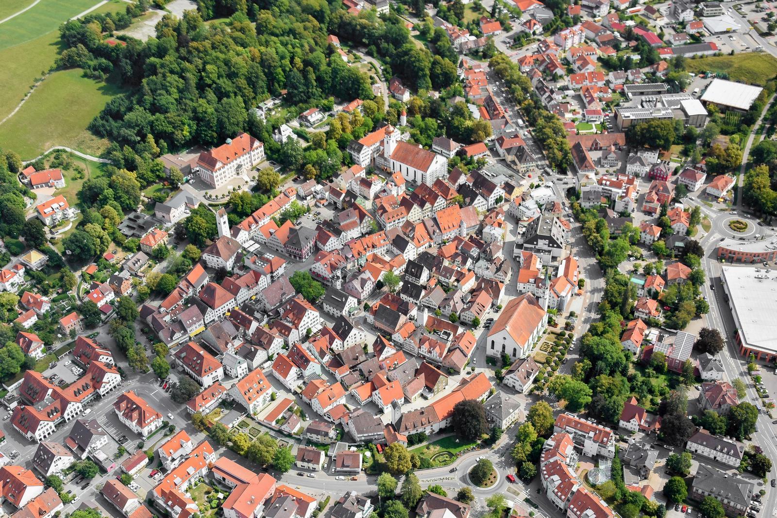 Luftbild der Leutkircher Kernstadt (Foto: Heinz Mauch)