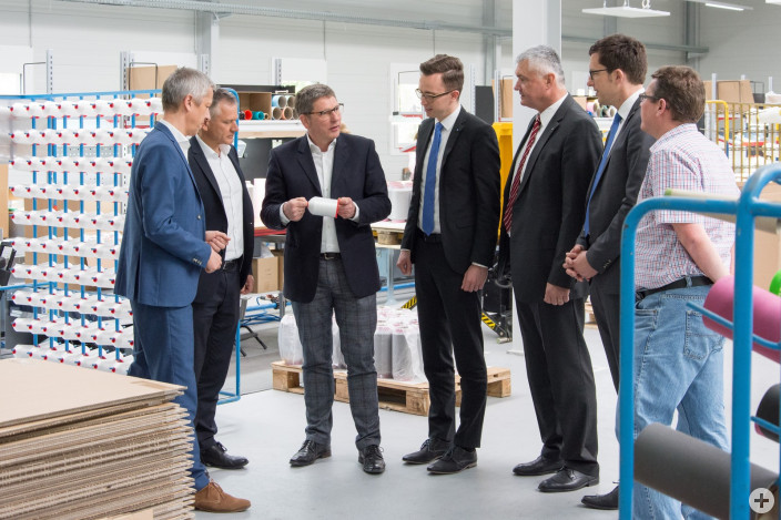 von links: Ditmar Schultschik (Gruschwitz), OB Hans-Jörg Henle, Klaus Gudat (Gruschwitz), Simon Weiß (VBAO), Georg Kibele (VBAO), Wolfang Oligmüller (VBAO), Roland Braun (Stadt Leutkirch)