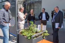 Michael Krumböck (Stadt), Bürgermeisterin Christina Schnitzler, Laura Holzhofer (Stadt), MdL Raimund Haser und Staatssekretär Michael Meister (von links)