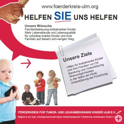Flyer Förderkreis für tumor- und leukämiekranke Kinder Ulm e.V.