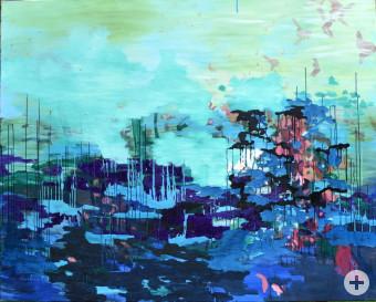 Nicole Bold - Himmelwärts, 2015, Lack und Öl auf Leinwand