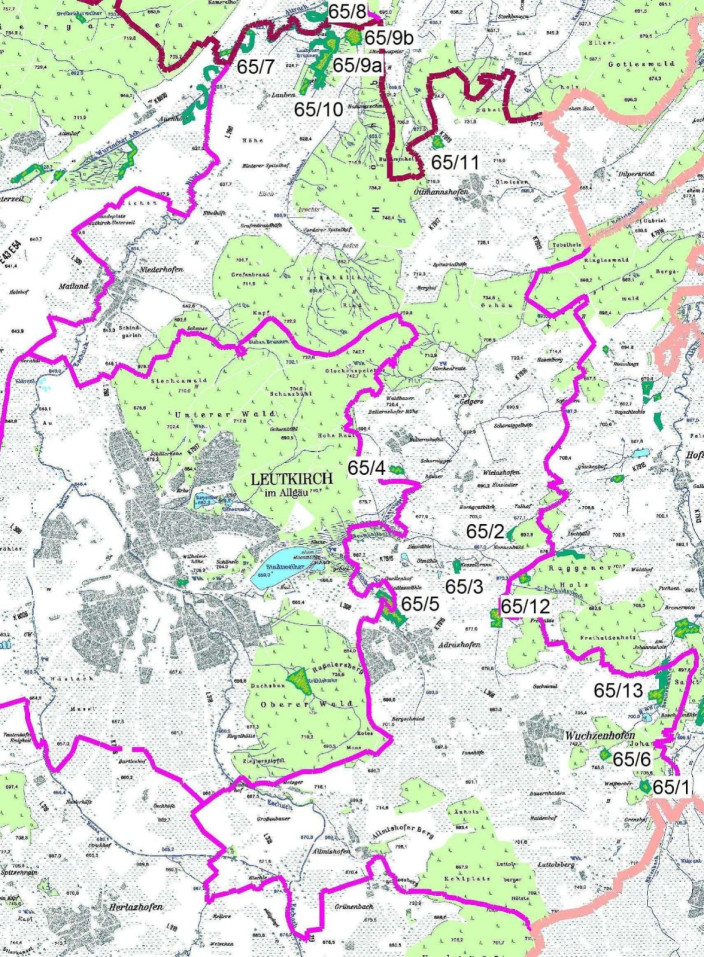 Karte Naturdenkmale Wuchzenhofen