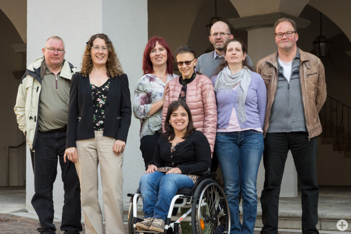Der Leutkircher Behindertenbeirat (v.l.): Peter Siegrist, Kerstin Rupp, Cornelia und Colette Sauter, Roland Krug, Martina Warger, Berndt Berger und Laura Hanser (vorne)