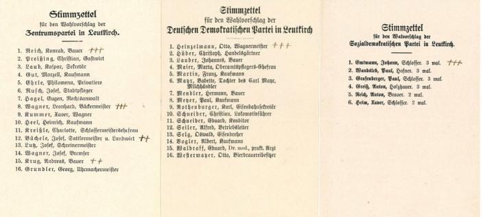 Stimmzettel zur Gemeinderatswahl 1919
