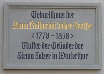 Gedenktafel am Geburtshaus von Katharina Sulzer-Neuffer, Marktstr. 16