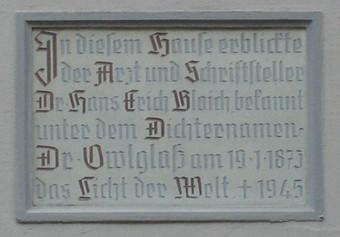 Gedenktafel am Geburtshaus von Hans Erich Blaich, Marktstr. 13