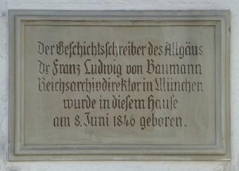 Gedenktafel am Geburtshaus von Franz Ludwig Baumann, Memmingerstr. 19