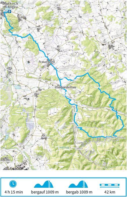 Karte Radtour A der Adelegg Karte