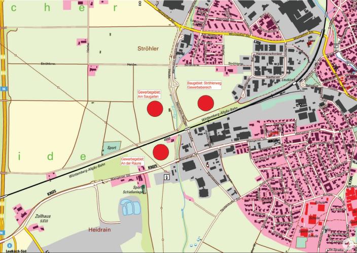 Übersichtsplan GE Am Saugarten, GE Ströhlerweg, GE An der Rauns