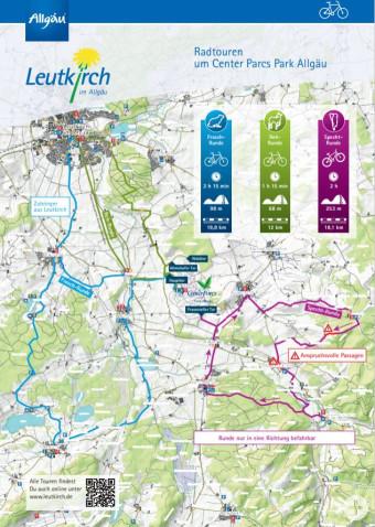 Übersichtskarte Radtouren um Center Parcs Park Allgäu