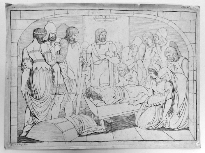 """Zeichnung von Carl Wilhelm Gangloff """"Kriemhild und Hagen an der Leiche Siegfrieds"""""""