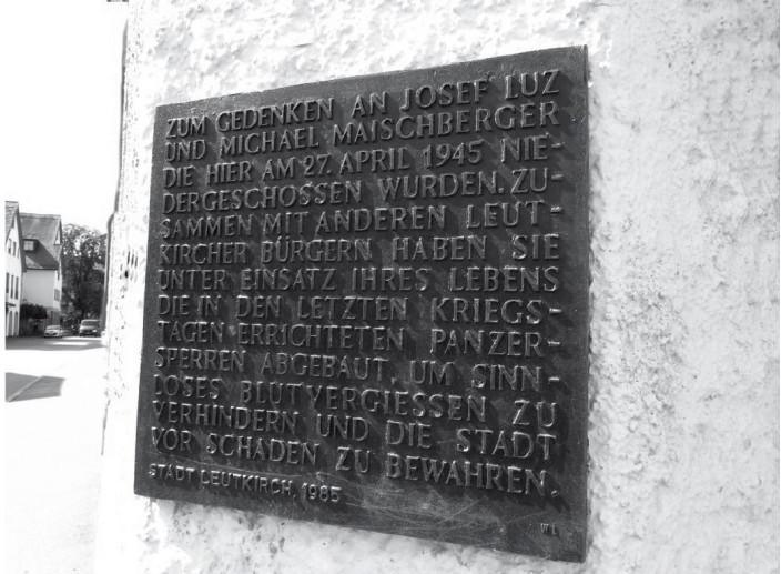 Leutkirch: Gedenktafel für Josef Luz und Michael Maischberger