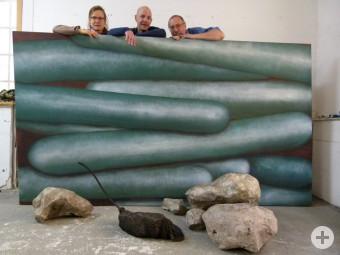 Elisabeth Bader, Christoph Dittrich und Bernd Rummert mit ihren Arbeiten